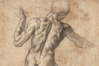 Michelangelo Buonarroti (Italian, 1475–1564). Study of the Torso of a Male Nude Seen from the Back. Black chalk, with lead-white gouache highlights. Albertina, Vienna (123)