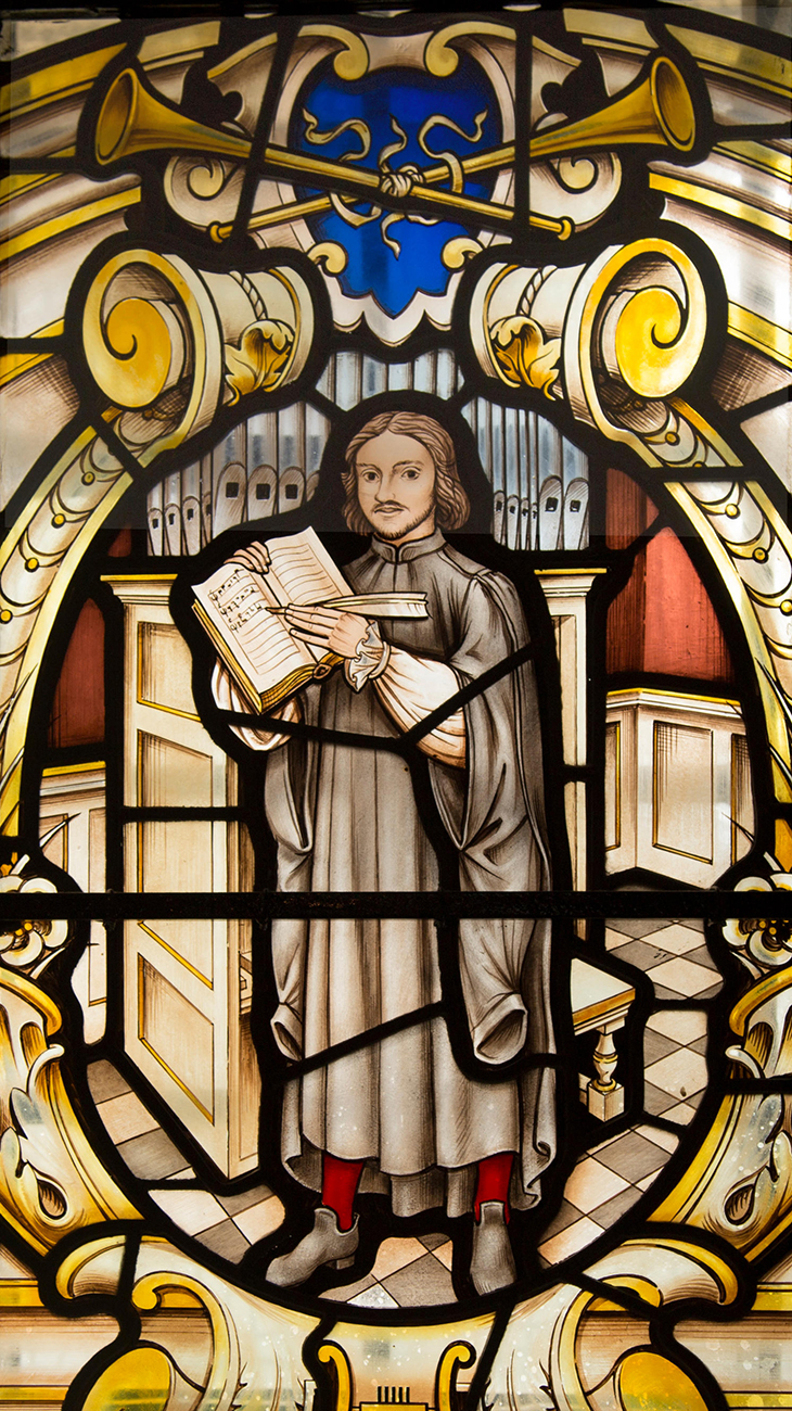 Detail Thomas Tallis, composer of English choral music, depicted in stained glass window at St Alfege church, Greenwich, London