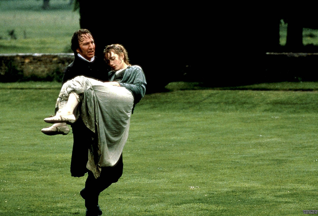 Colonel Brandon (Alan Rickman) rescuing Marianne (Kate Winslet) in Sense and Sensibility (1995)