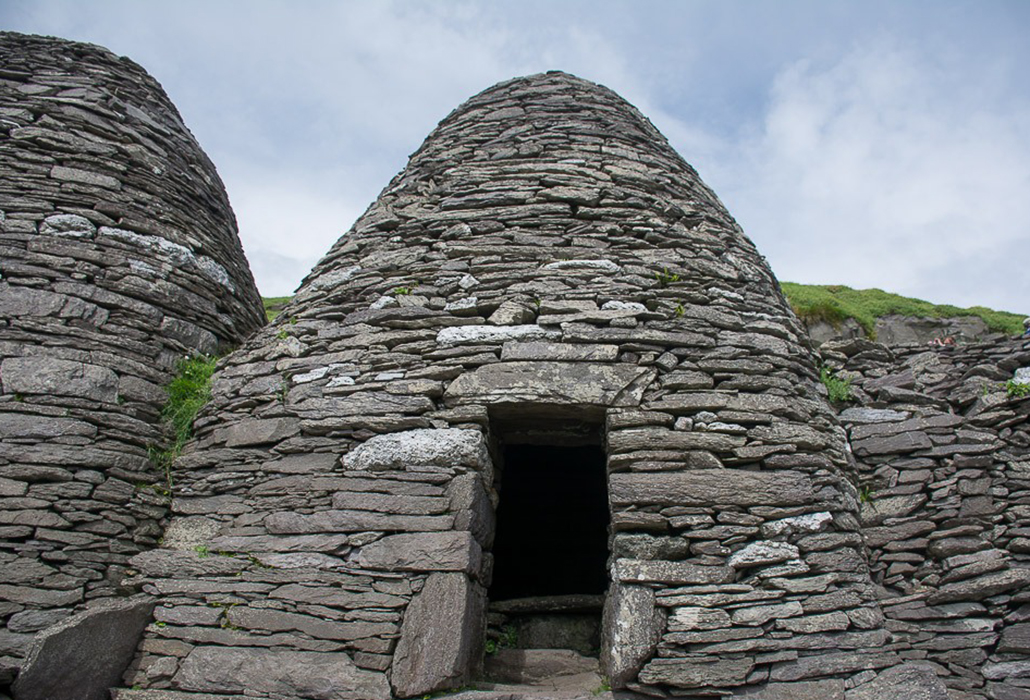 Beehive huts on the island of Skellig Michael, in the Irish Sea