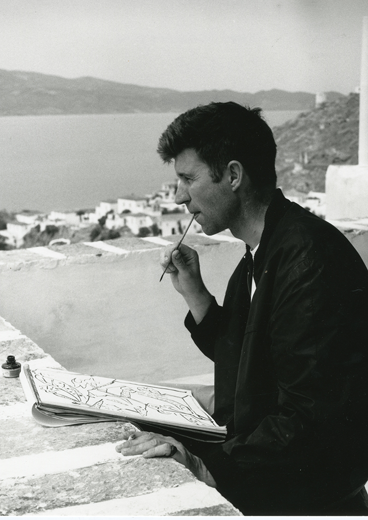 John Craxton painting in Ghika's house in Hydra in 1960. Benaki Museum – Ghika Gallery, Athens. Photo: Suschitzky. © The Estate of Wolfgang Suschitzky