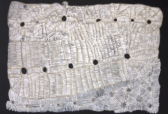 "Doris Bush Nungarrayi, Papa Tjukurrpa - Nyumannu, 122 x 91cm, 2017.  Featured at ""Papunya Tjupi Arts 2018"" exhibition, Sydney, presented by Honey Ant Gallery."