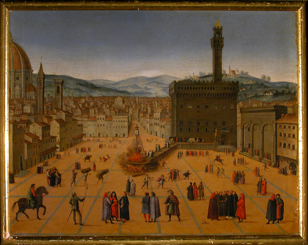 SCUOLA FIORENTINA DEL XVI - Veduta della Piazza Signoria col rogo di Savonarola