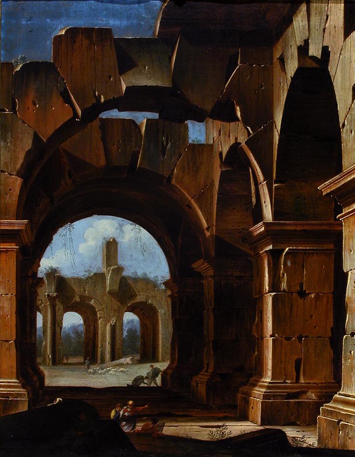 Detail: Niccolò Codazzi, (Naples 1642-Genoa 1693), Ruined building c1685-1693 oil on canvas, 67 x 53 cm, Galleria Corsini, Florence