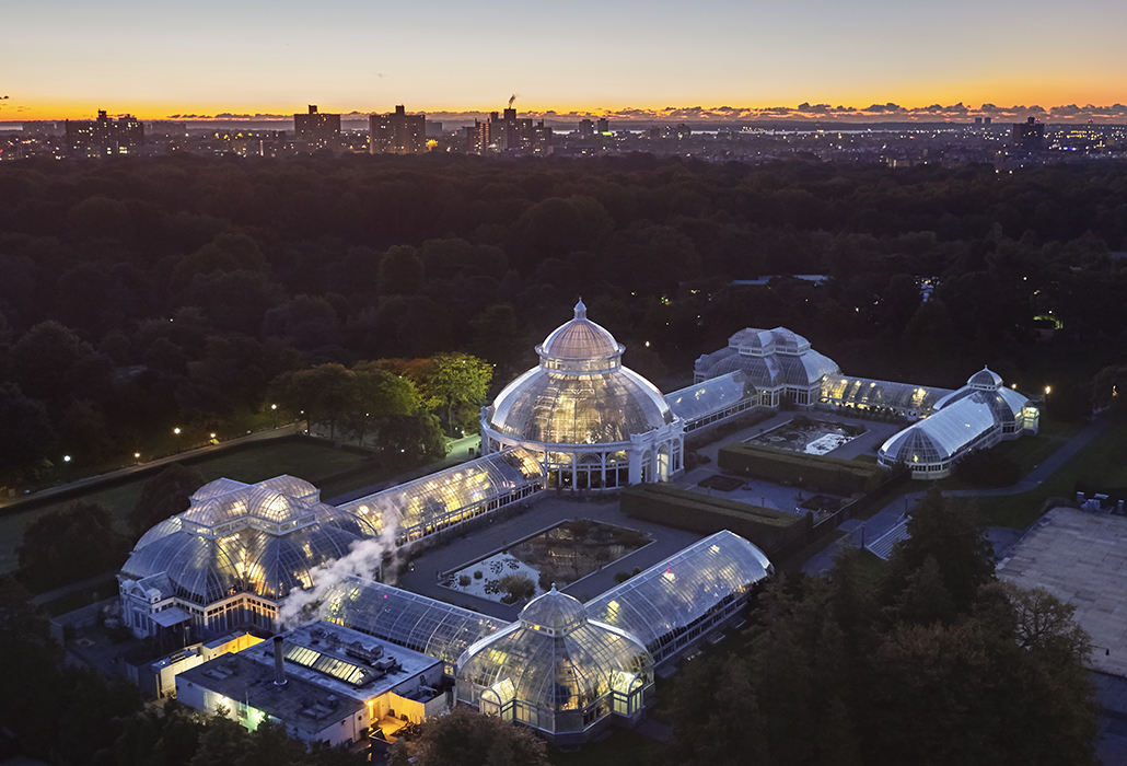 Arial view of the Edith A Haupt Conservatory in the NYBG at dusk