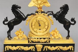 Clock with Horses Raring