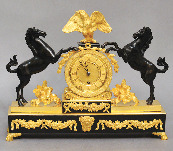 Clock with Horses Raring
