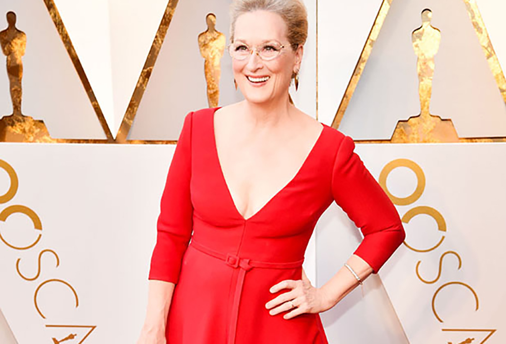 Detail: Meryl Streep attends the 90th Annual Academy Awards at Hollywood & Highland Center on March 4, 2018 in Hollywood, California.  (Photo by Kevin Mazur/WireImage)