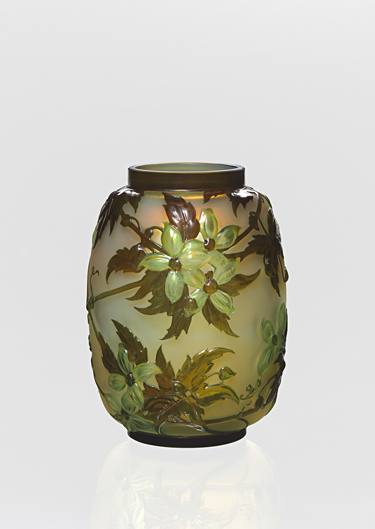 Gallé, Nancy (manufacturer) Clematis, vase c. 1890?1900 glass (acid-etched) 24.0 x 18.2 cm diameter National Gallery of Victoria, Melbourne Purchased, 1975