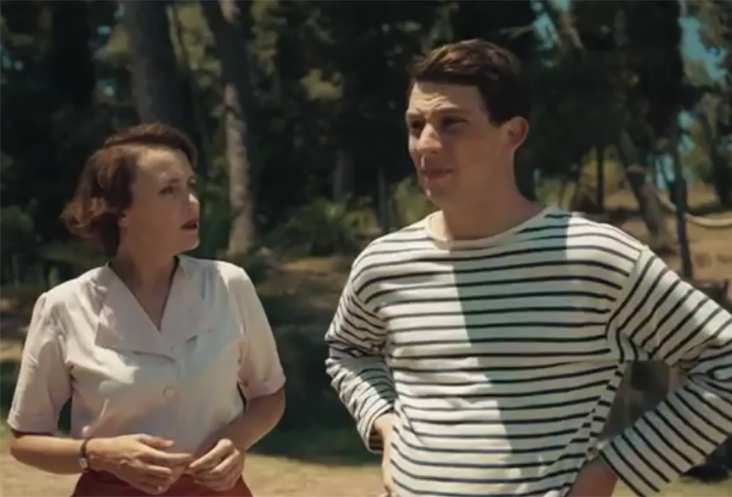Louisa (Keeley Hawes) with Larry (Josh O'Connor) in The Durrells