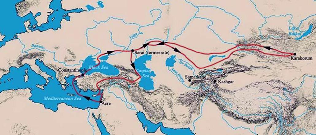 Itinéraire de Guillaume de Rubrouck: route (1253-55)