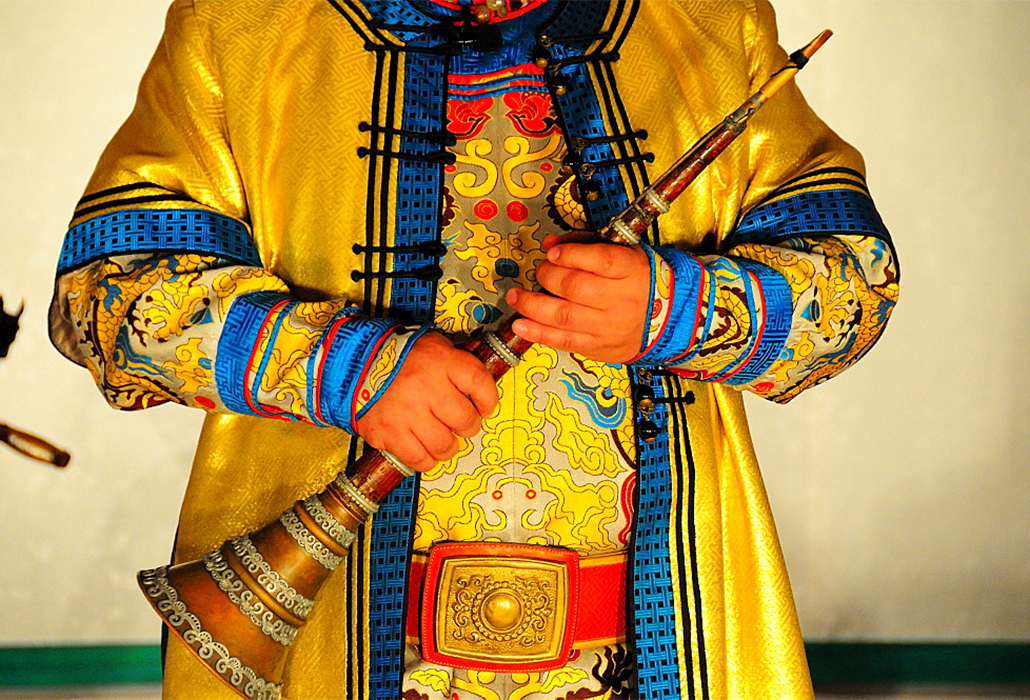 ceremonial instrument and dress for traditional concert in Ulaanbaatar, Mongolia