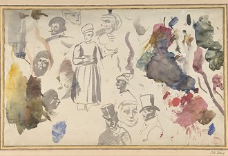Studies of male heads and a standing male figure, Eugéne Delacroix  (French, Charenton-Saint-Maurice 1798–1863 Paris) Brush and gray wash, watercolor on laid paper, 21.6 x 35.2 cm, Bequest of Harry G. Sperling, 1971, courtesy The Metropolitan Museum of Art, New York