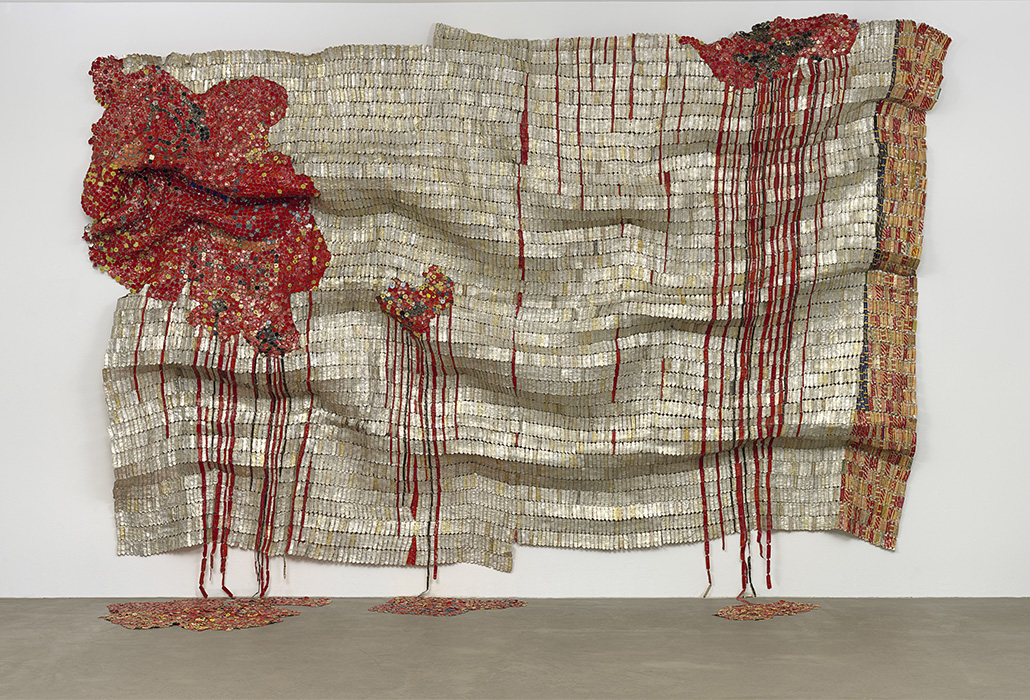 El Anatsui Ghanaian born 1944 Bleeding Takari II 2007 aluminium and copper wire 393.7 x 576.6 cm The Museum of Modern Art, New York Gift of Donald L. Bryant, Jr. and Jerry Speyer, 2008 © El Anatsui. Courtesy of the artist and Jack Shainman Gallery, New York