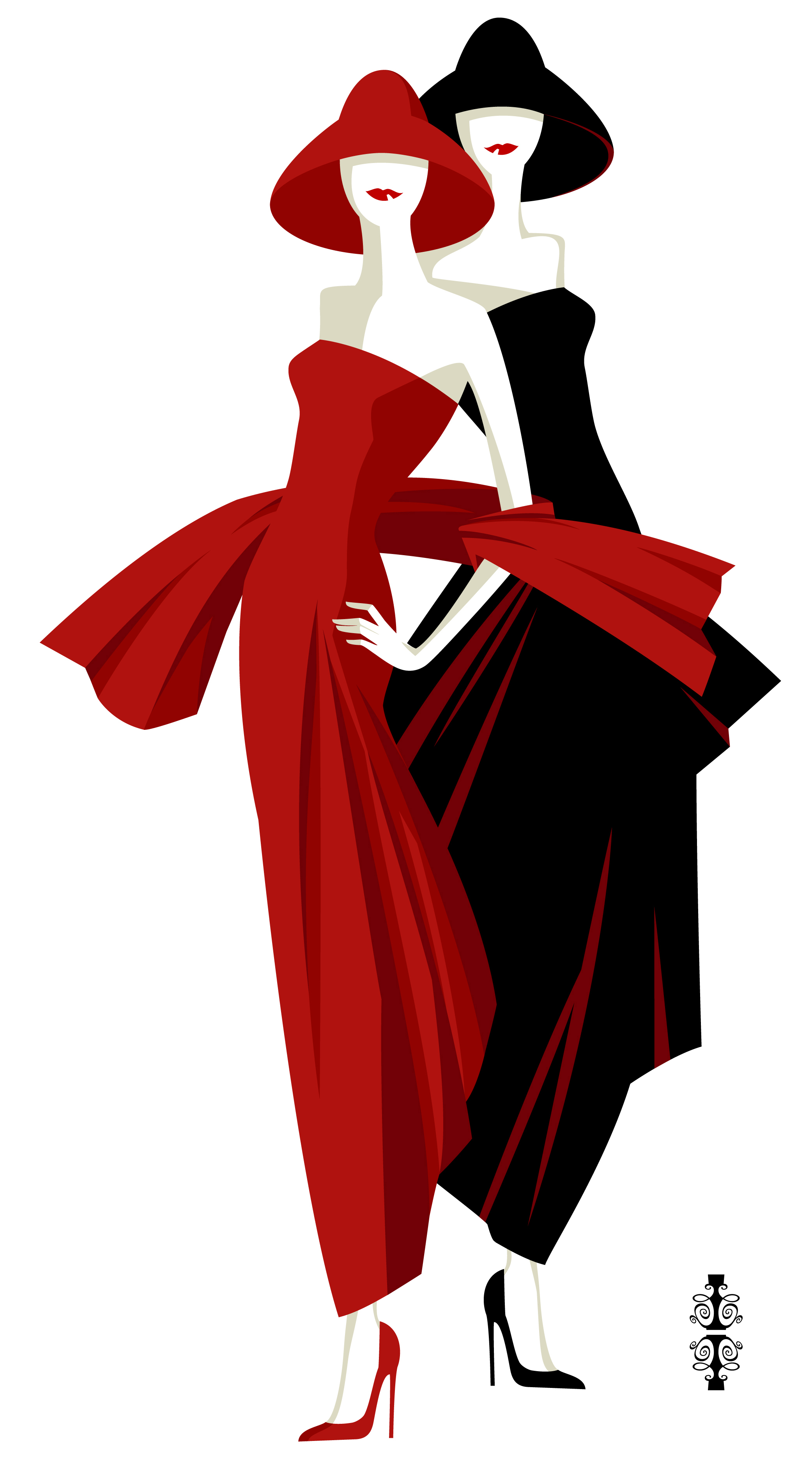 fashionable women in a black and red dresses