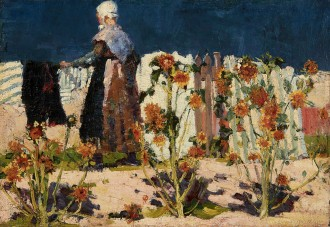 John Russell: 'Peasant woman with sunflowers', oil on canvas, 32.5 x 46.5 cm, Collection of Allen Hunter & Carmel Dyer, Brisbane Photo: AGNSW, Jenni Carter