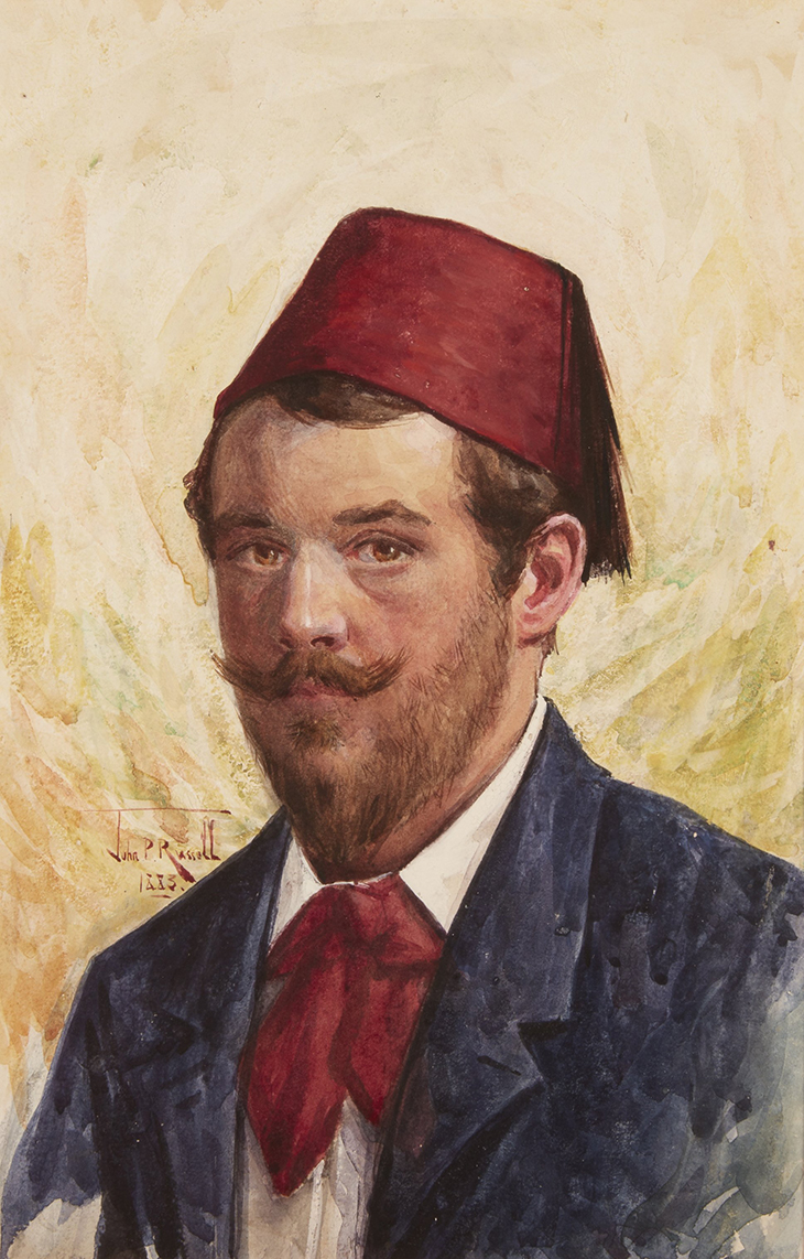 John Russell: 'Untitled (Self-portrait in a red fez)' 1883, watercolour on paper, 28 x 18 cm (sight), Private collection, Mudgee, NSW, Photo: AGNSW, Jenni Carter