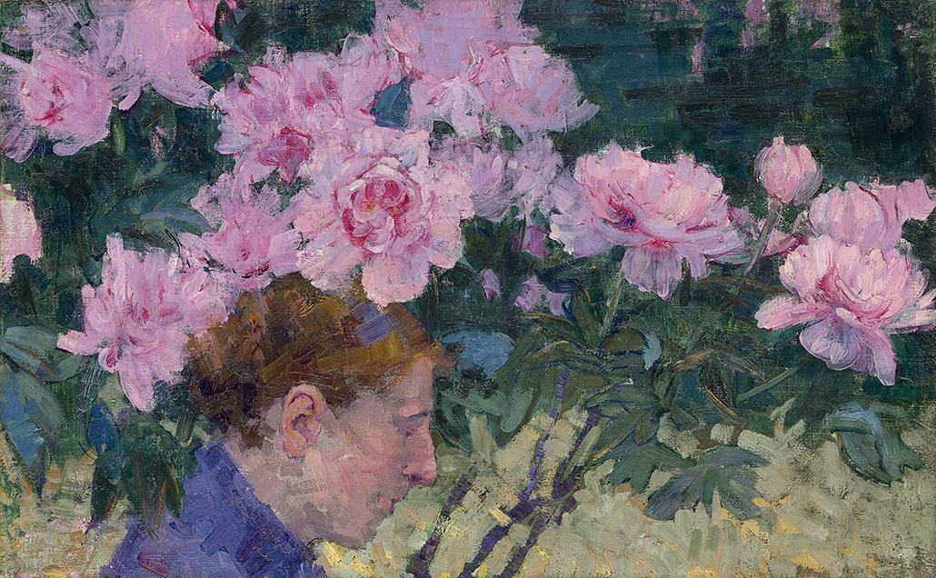 John Russell: 'Peonies and head of a woman' c1887, oil on canvas, 40.7 x 65 cm, courtesy National Gallery of Victoria, Melbourne. The Joseph Brown Collection. Presented through the NGV Foundation by Dr Joseph Brown AO OBE, Honorary Life Benefactor, 2004