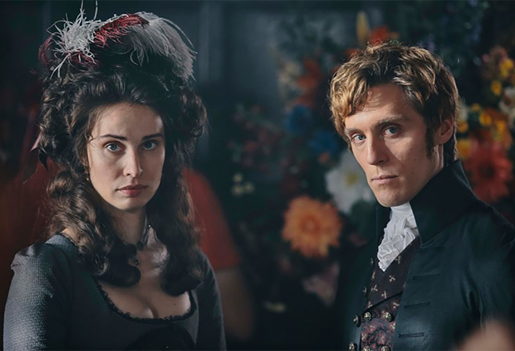 Elizabeth (Heida Reed), George Warleggan (Jack Farthing), ©Mammoth Screen, Photo Robert Viglasky