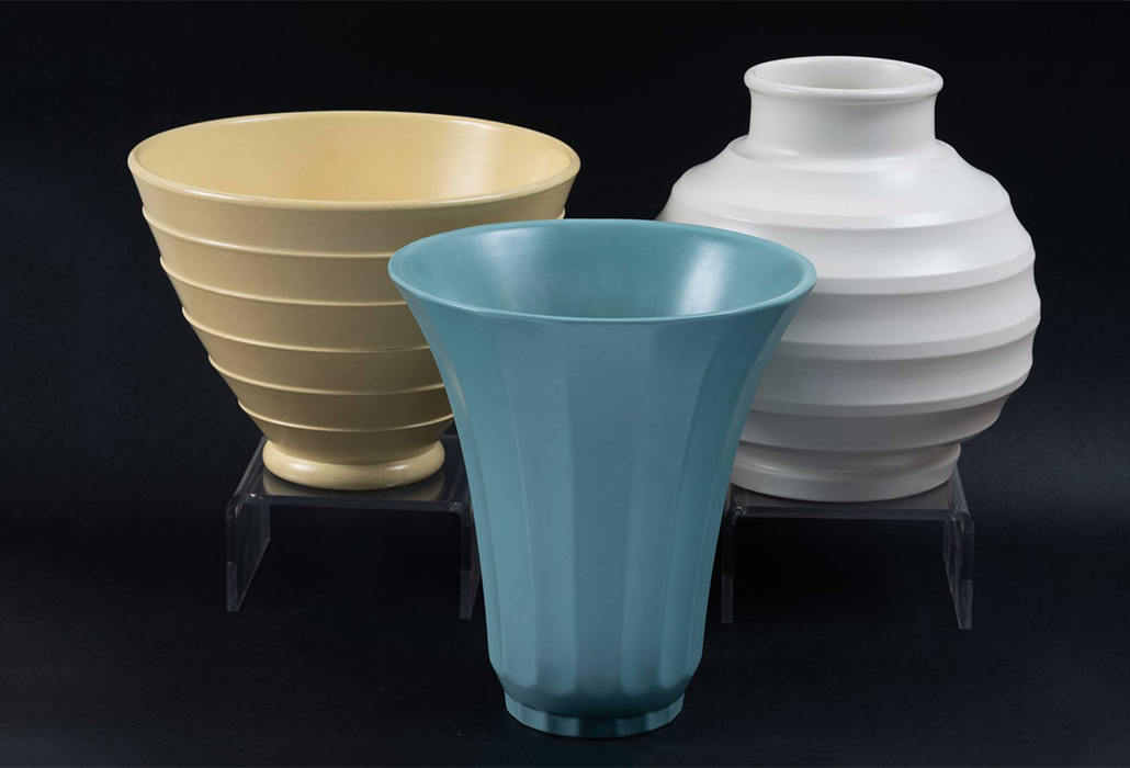 Wedgwood Keith Murray vases, c 1930, three unique colours - Matt Green, Matt Straw & Moonstone, courtesy Alan Landis Antiques