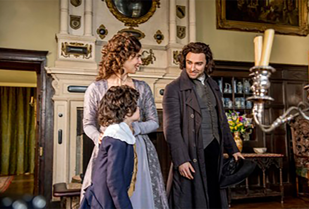 Ross Poldark (Aidan Turner), Elizabeth (Heida Reed), Valentine (Alfie Rigby) - © Mammoth Screen  - Photo: Robert Viglasky