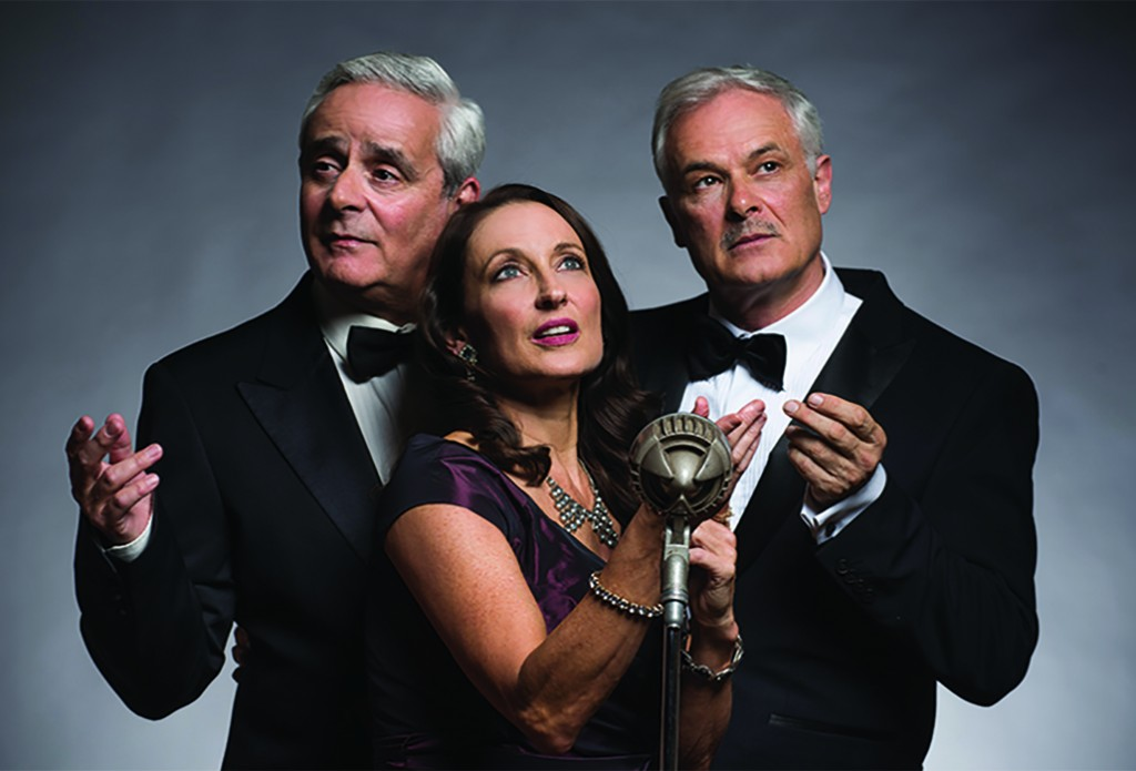 Ensemble 1 Daniel Mitchell, Georgie Parker and Mark Kilmurry in MURDER ON THE WIRELESS Photo by Christian Trinder-SMALLER