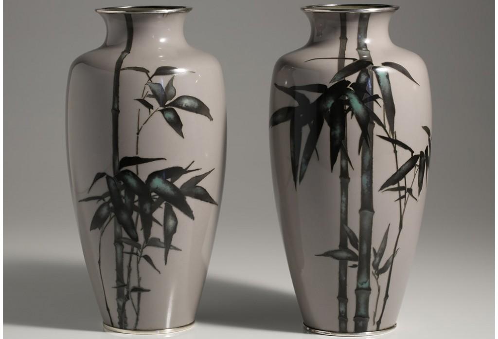 Brans Antiques and Art (WA) Pair of cloisonné vases