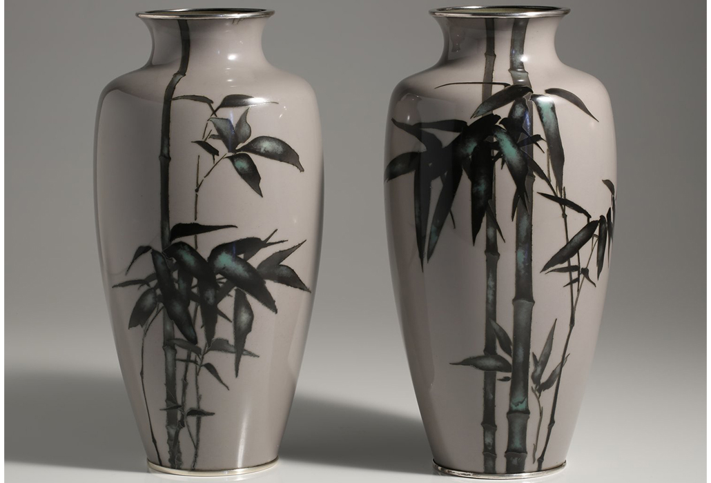 Brans Antiques and Art (WA) Pair of cloisonné vases