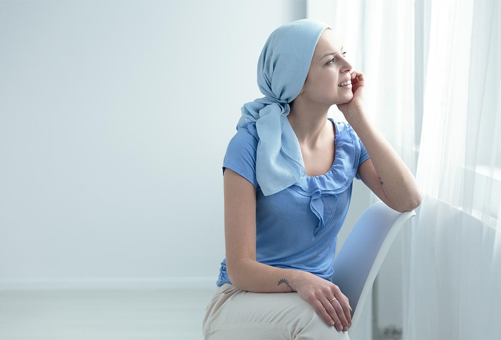 Cancer survivor sitting on chair