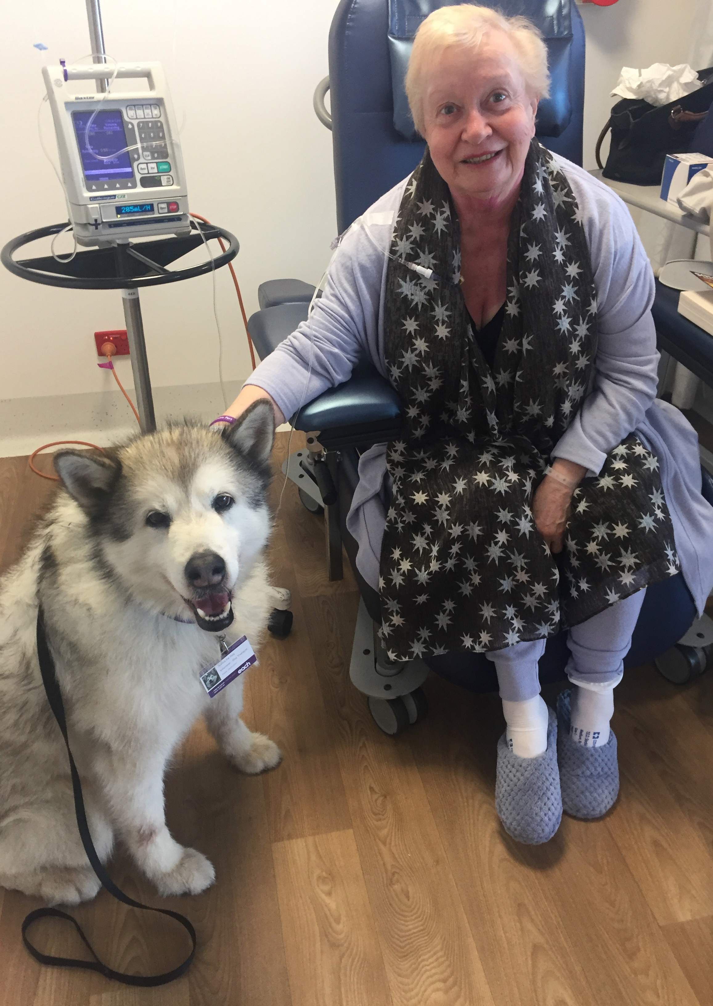 Carolyn with Aurora, the care dog at Epworth, Richmond, Melbourne