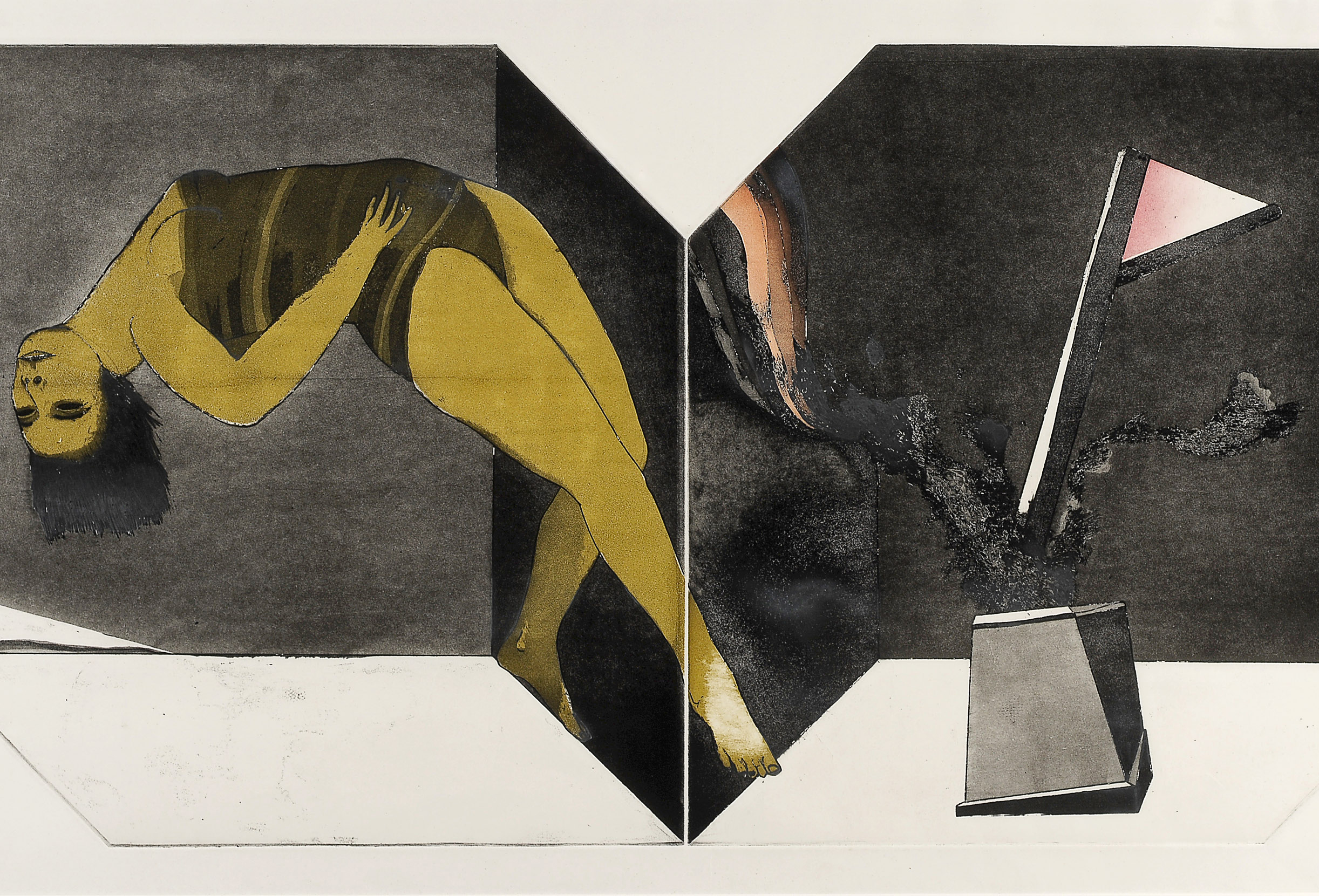 George Baldessin Performance (Variation 2) 1971 etching, aquatint and colour stencil 53.0 x 101.0 cm (image and plate), 63.5 x 111.5 cm (sheet) Private collection, Melbourne © The Estate of George Baldessin