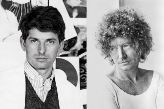 Left: George Baldessin at RMIT, Melbourne c. 1965 Photo: Unknown - Right Greg Weight Brett Whiteley – portrait 2 1975 gelatin silver photograph 50.4 x 40.4 cm (sheet) 45.2 x 30.8 cm (image) National Portrait Gallery, Canberra Gift of Patrick Corrigan AM 2004, Donated through the Australian Government's Cultural Gifts Program, (2004.117) © Greg Weight. Licensed by Copyright Agency, 2018
