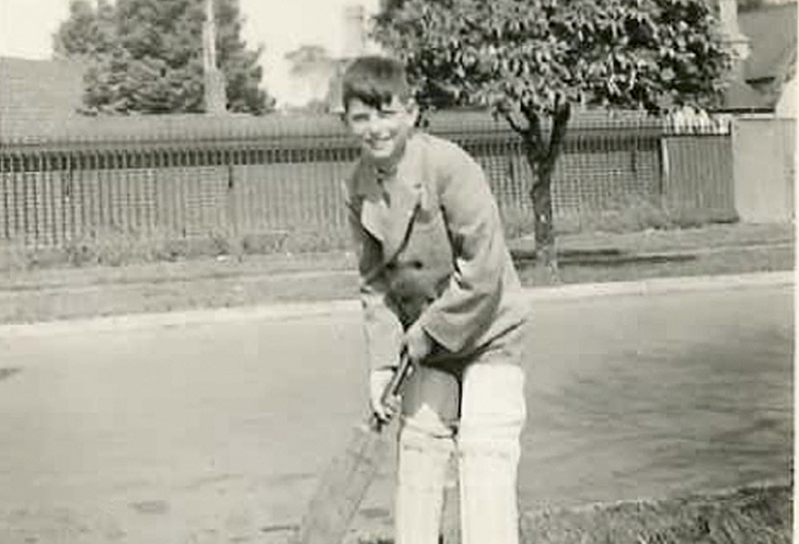 George Baldessin playing backyard cricket 1950 Photo: Unknown