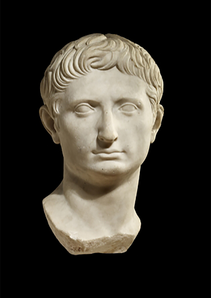 Statue head of Augustus (Rome, Italy), 30–25 BC. Marble, 14 3/4 x 8 1/4 x 8 5/8 in. The British Museum, 1888,1210.1. courtesy ©The Trustees of the British Museum