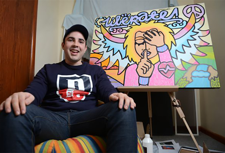 Josh Muir won first prize in a Melbourne arts competition.