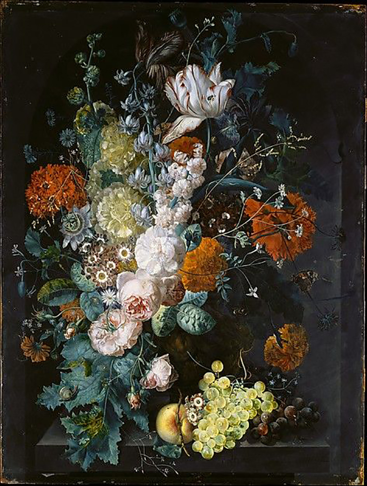 Margareta Haverman (Dutch, active by 1716–died 1722 or later), A Vase of Flowers, 1716, Oil on wood, 31 1/4 x 23 3/4 in. (79.4 x 60.3 cm), courtesy The Metropolitan Museum of Art, New York, Purchase, 1871 (71.6)