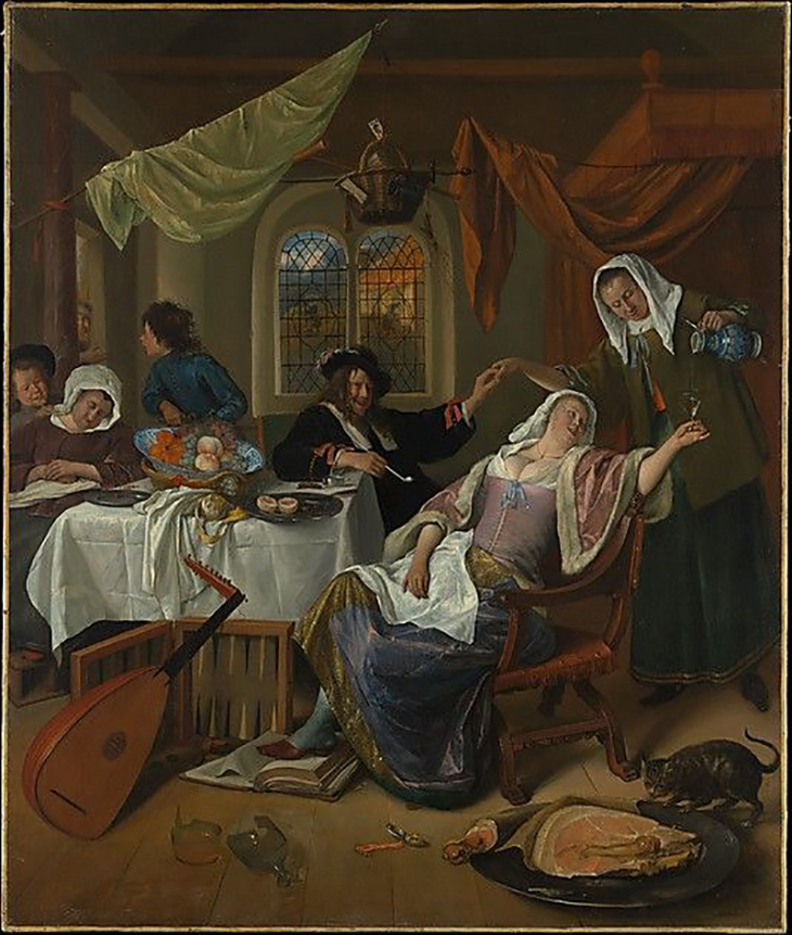 Jan Steen (Dutch, Leiden 1626–1679 Leiden) The Dissolute Household, ca. 1663–64, Oil on canvas, 42 1/2 x 35 1/2 in. (108 x 90.2 cm) courtesy Metropolitan Museum of Art, New York, The Jack and Belle Linsky Collection, 1982