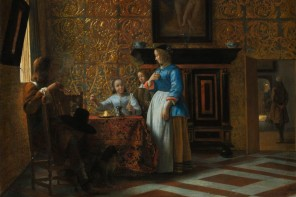 Leisure Time in an Elegant Setting, Pieter de Hooch (Dutch, Rotterdam 1629–1684 Amsterdam), ca. 1663–65, oil on canvas, Robert Lehman Collection 1975, courtesy The Metropolitan Museum of Art, New York