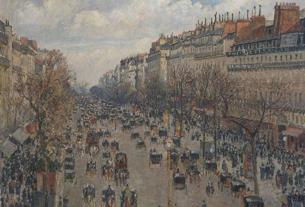 Camille Pissarro  Boulevard Montmartre, afternoon sun' 1897 oil on canvas, 74 x 92.8 cm, The State Hermitage Museum, St Petersburg photo: ©The State Hermitage Museum 2018, Vladimir Terebenin, Leonard Kheifets and  Yuri Mololkovets