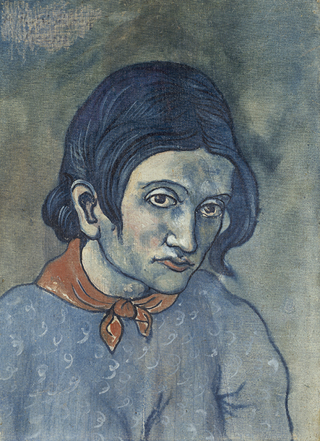 Pablo Picasso 'Woman's head' (Portrait of Geneviève) 1902/03, oil on canvas, stuck down on card  50 x 36 cm, The State Hermitage Museum, St Petersburg © Pablo Picasso/Succession Pablo Picasso/Copyright Agency 2018 photo: © The State Hermitage Museum 2018, Vladimir Terebenin, Leonard Kheifets and  Yuri Mololkovets