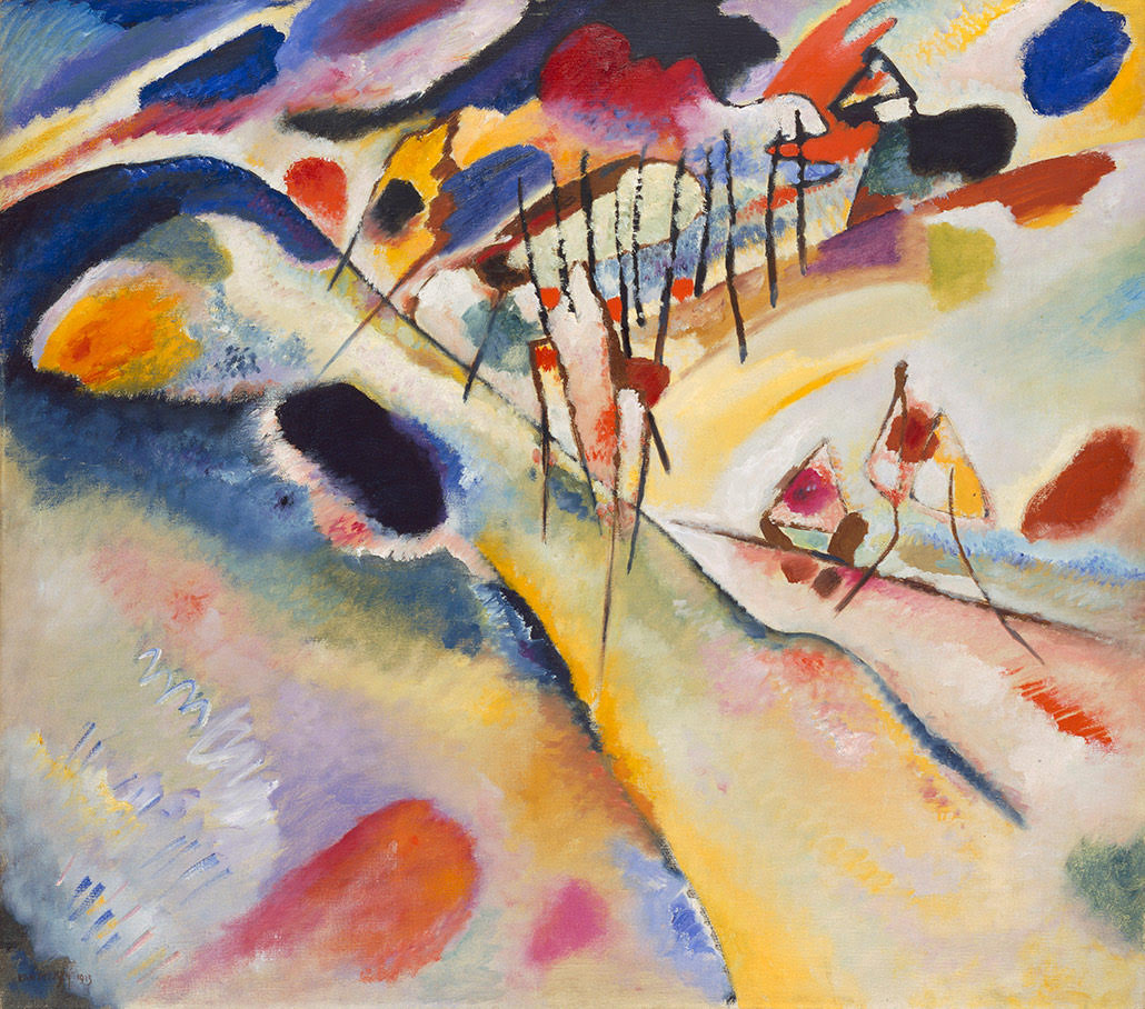 Wassily Kandinsky 'Landscape: Du?naberg near Murnau' 1913, oil on canvas, 88.5 x 100 cm, Signed and dated below left: Kandinsky 1913, The State Hermitage Museum, St Petersburg Photo: © The State Hermitage Museum 2018, Vladimir Terebenin