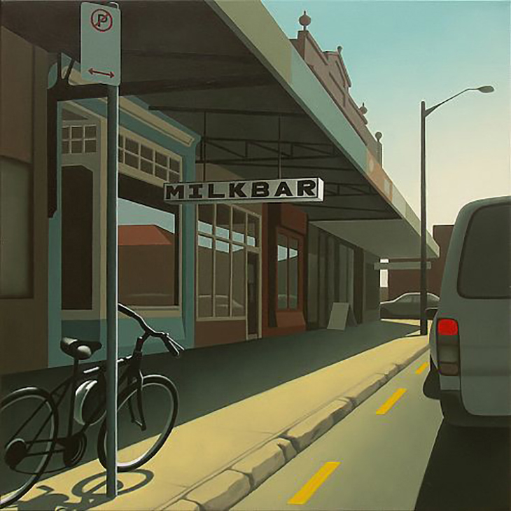 Guy Gilmour, Milk Bar on Enmore Road 76×76cm oil on polyester, courtesy Robin Gibson Gallery Sydney