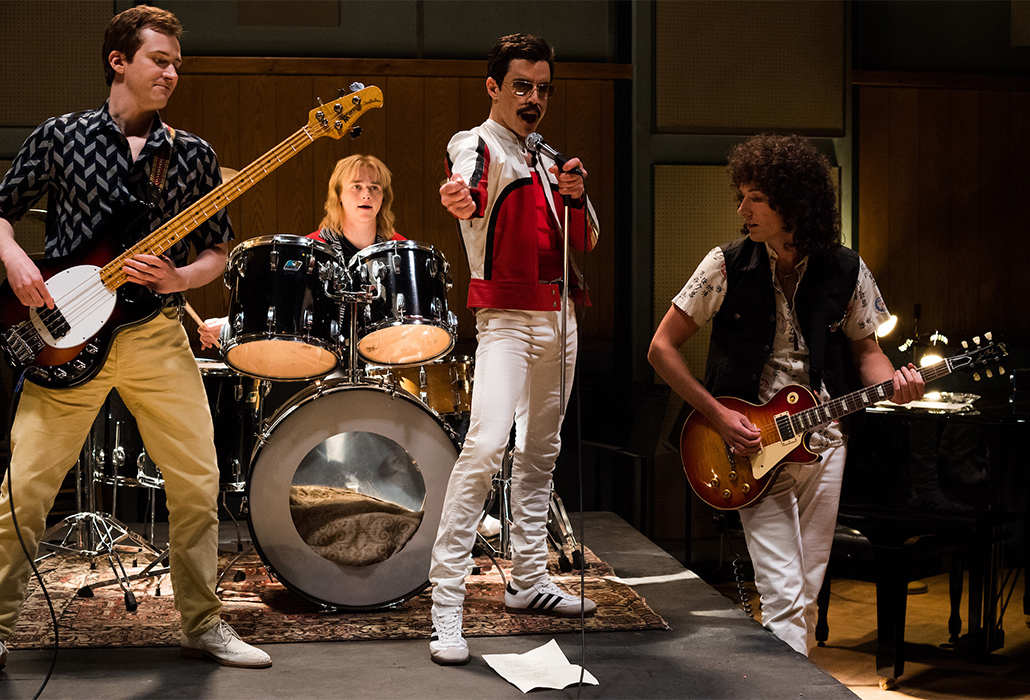 Joe Mazzello (John Deacon), Ben Hardy (Roger Taylor), Rami Malek (Freddie Mercury), and Gwilym Lee (Brian May) star in Twentieth Century Fox's BOHEMIAN RHAPSODY. Photo Credit: Alex Bailey