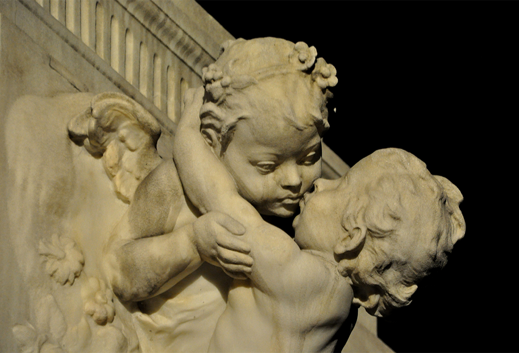 Two angels on the monument to Mozart in Vienna, Austria