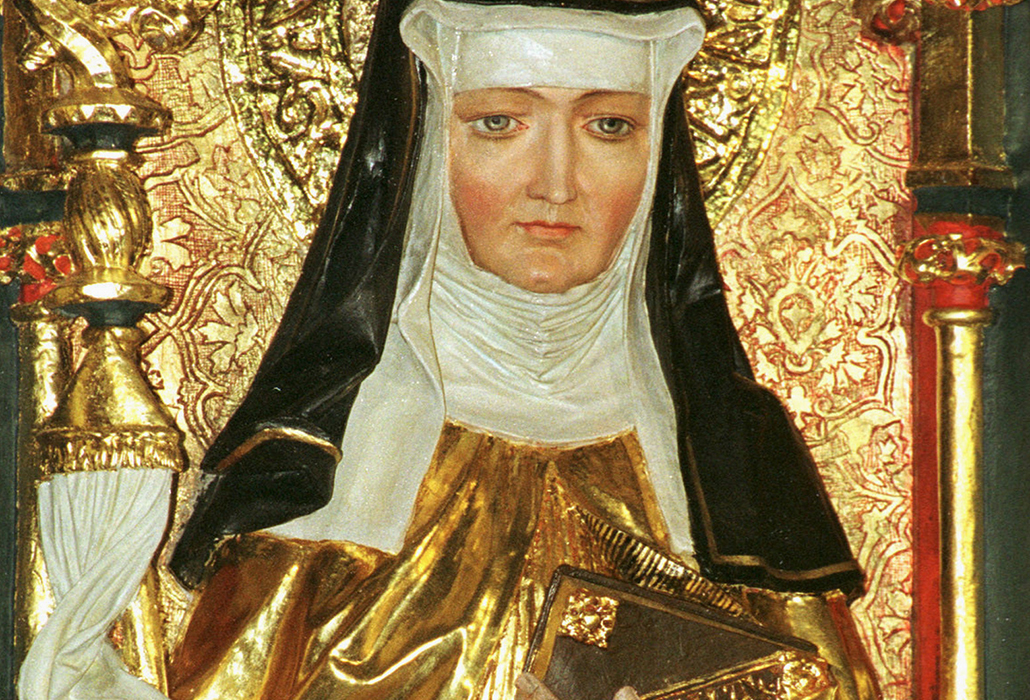 St. Hildegard of BIngen is depicted on a gilded altarpiece inside the Rochuskapelle, a pilgrim church dedicated to St. Roch in the town of Bingen am Rhein, Germany. Pope Benedict XVI signed a decree May 10 that formalized her Sept. 17 feast and added her name to the church's catalogue of saints. The German Benedictine mystic, although venerated for centuries, had never been officially canonized. (CNS photo/courtesy of KNA)