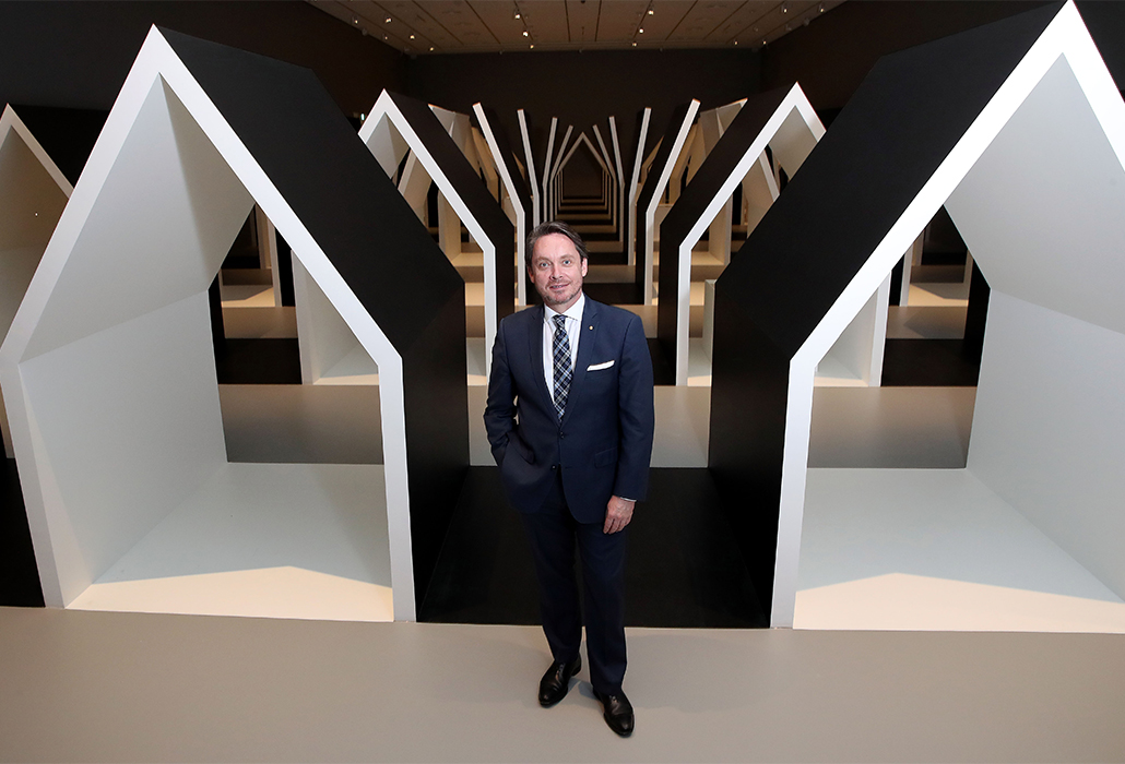 Director of the National Gallery of Victoria Tony Ellwood poses during the first-look at the new Escher x Nendo | Between Two Worlds exhibition at NGV International on November 30, 2018 in Melbourne, Australia. Photo by Scott Barbour/Getty Images for NGV