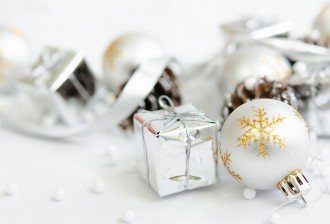 abstract blur background. christmas concept with ball, gifts