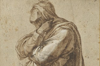 Study of a Mourning Woman; Michelangelo Buonarroti (Italian, 1475 - 1564); Italy; about 1500–1505; Pen and brown ink, heightened with white lead opaque watercolor; 26 × 16.5 cm (10 1/4 × 6 1/2 in.); 2017.78 courtesy J.Paul Getty Museum, Getty Center, Los Angeles