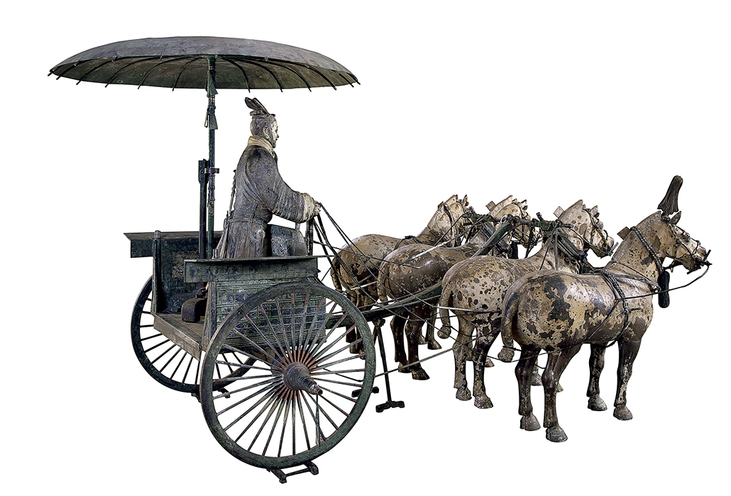 CHINESE: Chariot #1 (Qin dynasty replica) bronze 152.0 (h) x 225.0 (w) cm Emperor Qin Shihuang's Mausoleum Site Museum, Xi'an (MMYL007)