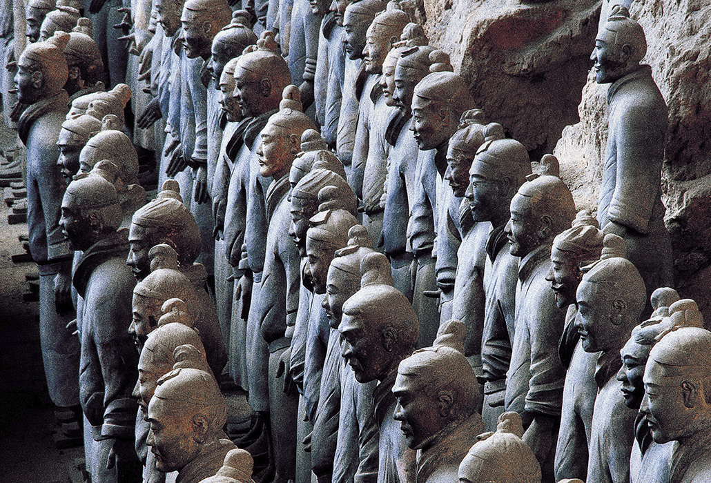 Detail: The terracotta army Qin dynasty (221-206 BCE) Earthenware (terracotta) Emperor Qin Shihuang's Mausoleum, Xi'an